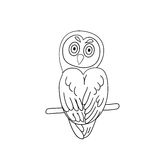 Coloring page outline of owl Royalty Free Stock Image