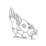 Coloring page outline of pecking chicken Royalty Free Stock Photography