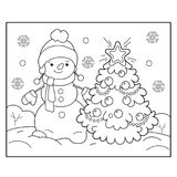 Coloring Page Outline Of snowman with Christmas tree. Christmas. New year. Coloring book for kids Royalty Free Stock Photo
