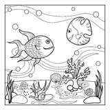 Coloring page outline of underwater world for kids. Royalty Free Stock Images