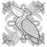 Coloring page with Pelican in hibiskus flowers, stock illustration