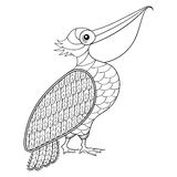 Coloring page with Pelican, zentangle illustartion Royalty Free Stock Photo