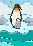 Cartoon birds. Mother penguin stands with her little cute baby on the ice. And smiles vector illustration