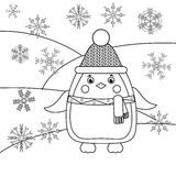 Coloring page with penguin and snowflakes. Educational game, drawing kids activity Royalty Free Stock Photo