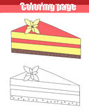 Coloring page with pie children educational game, drawing kids activity Royalty Free Stock Image