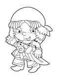 Coloring page - pirate - illustration for the children Stock Image