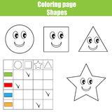 Coloring page practice sheet. Educational children game, kids activity, printable worksheet. Learning shapes and colors Stock Image