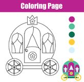 Coloring page with princess carriage. Drawing kids game. Printable activity Stock Photos