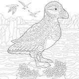 Zentangle stylized puffin bird Royalty Free Stock Photo