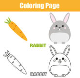 Coloring page with rabbit, bunny character. Educational game, printable drawing kids activity. Coloring page with rabbit, bunny character. Color the picture Stock Image