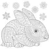 Zentangle stylized rabbit and snow Royalty Free Stock Photos