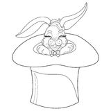Coloring Page rabbit. Hand Drawn vintage doodle bunny  illustration for Easter. Stock Image