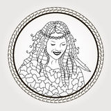 Coloring page. Reflection in the mirror girl. Stock Image
