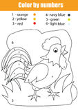Coloring page with rooster. Color by numbers Royalty Free Stock Images