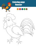 Coloring page with rooster. Educational game, drawing kids activity Royalty Free Stock Photos