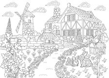 Zentangle stylized countryside mansion Royalty Free Stock Photos
