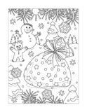 Coloring page with Santa`s sack full of presents. Winter holidays joy themed coloring page with Santa`s sack full of presents, snowman, teddy bear, outdoor scene stock illustration