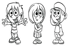 Coloring Page ` School Kid Series `. Education material for preschool kid Royalty Free Stock Image
