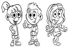 Coloring Page ` School Kid Series `. Education material for preschool kid Royalty Free Stock Photo
