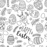 Coloring page Seamless pattern for Easter Eggs, flowers, bunny Happy easter pattern. Pattern for Easter Eggs, flowers, bunny Happy easter pattern Royalty Free Stock Photos