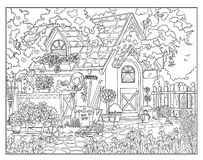 Coloring page The Secret Garden vector illustration