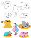 Coloring page set CATS Stock Photos