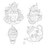Coloring page set. Cupcake, ice cream, tea pot, cup. Stock Images