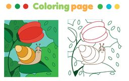 Coloring page with snail on flower. Drawing kids game. Printable activity vector illustration