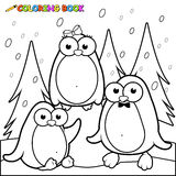 Coloring page snowy landscape with penguins on ice Royalty Free Stock Image
