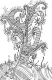 Coloring page with surreal landscape  tree. Vector hand drawing illustration for adults or children. Doodle, cartoon, fairy tale, graphic art.r Stock Image