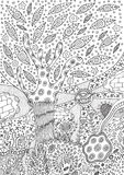Coloring page with surreal landscape. Tree, flower and sky. Vector zentangle illustration for adults or kids. Zendoodle vector art. Doodle cartoon fairy tales Royalty Free Stock Photography