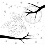 Coloring page with symbol moon, sun, owl. coloring book for adult, antistress, album, wall mural, art, tattoo. Coloring book for adult and older children stock illustration