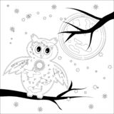 Coloring page with symbol moon, sun, owl. coloring book for adult, antistress, album, wall mural, art, tattoo. Coloring book for adult and older children royalty free illustration
