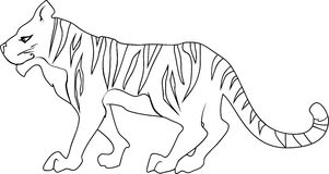 Coloring page with tiger Royalty Free Stock Image
