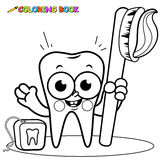 Coloring page tooth cartoon holding toothbrush and dental floss Royalty Free Stock Images