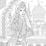 Zentangle stylized turkish woman. Coloring page of turkish woman. Islamic filigree decor, arabic mosque, crescent moons and stars on the background. Freehand Royalty Free Stock Photography