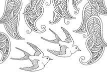 Coloring page with two birds and willow leafs Stock Photography