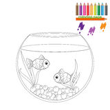 Coloring page. Two fishes in the round aquarium Royalty Free Stock Image