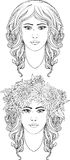 Coloring page of two girl's portraits Royalty Free Stock Photos