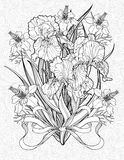 Coloring page with various flowers and a ribbon Royalty Free Stock Photos