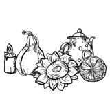 Coloring page in vector with household autumn elements stock illustration