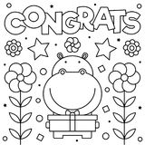 Coloring page. Vector illustration. Congrats. Coloring page. Black and white vector illustration Royalty Free Stock Images
