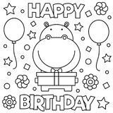 Coloring page. Vector illustration. Happy Birthday. Coloring page. Black and white vector illustration Royalty Free Stock Photo
