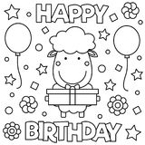 Coloring page. Vector illustration. Happy Birthday. Coloring page. Black and white vector illustration Stock Photos