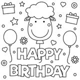 Coloring page. Vector illustration. Happy Birthday. Coloring page. Black and white vector illustration Stock Photography