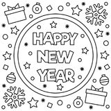 Coloring page. Vector illustration. Happy New Year. Coloring page. Vector illustration Stock Photo