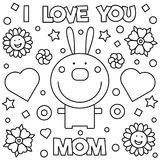Coloring page. Vector illustration. I love you mom. Coloring page. Vector illustration of rabbit Stock Photos