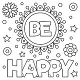 Coloring page. Vector illustration. Inspirational coloring page. Black and white vector illustration Royalty Free Stock Photo