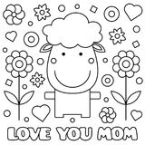 Coloring page. Vector illustration. Love you mom. Coloring page. Vector illustration of sheep Royalty Free Stock Image
