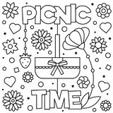 Coloring page. Vector illustration. Picnic time. Coloring page. Black and white vector illustration Stock Photography